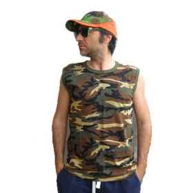 Vest top armholes sleeveless men cotton camouflage the sea summer sports slim