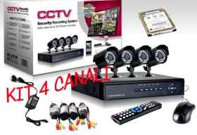 Kit dvr surveillance 4-channel 4-camera ir led HD 500 gb included