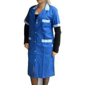 Coat apron, blue half sleeves janitor, cleaning woman, nurse, nanny, maid