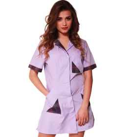 Tunic shirts short purple wisteria cotton work clothes woman slim