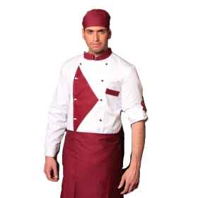 Chef's jacket fluorescent four seasons burgundy and brown restaurant chef