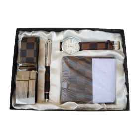 Gift box christmas clock pen wallet and belt man