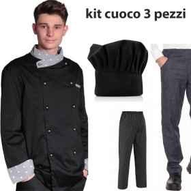Giacca cuoco cake design con cappello e pantalone nero o jeans da cucina 3  pezzi 8ece8bbab790