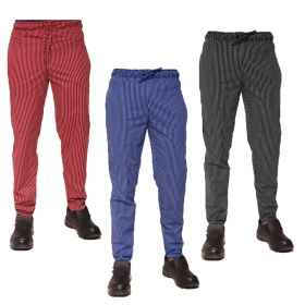 Pantalaccio work trousers in striped cotton for chef sizes mixed