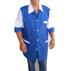 Shirts man the butcher and supermarket work made in Italy blue summer short sleeves