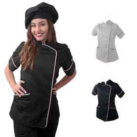 Tunic chef woman chef black wh