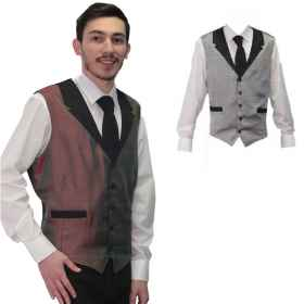 Vest man bartender job pastry sleeveless top coffee room bar male