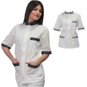Coat jacket women chef kitchen cook bar work lab zip half sleeves