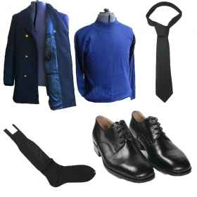 Full m.m. split p4 coat high neck shoes socks tie belt