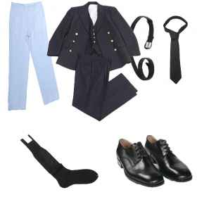 Full navy uniform p4 tie shoes