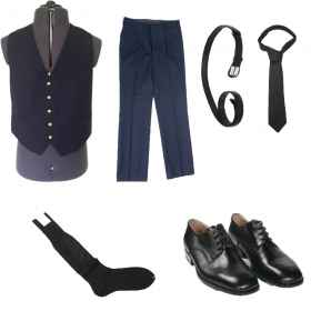 Full navy vest pants shoes bel