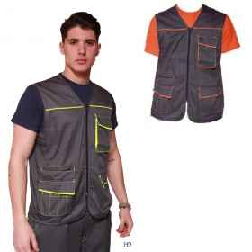 Sleeveless vest men pockets worker zip bricklayer carpenter construction site
