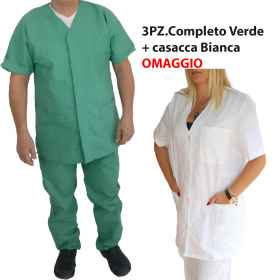 Divided Hospital Full pure cotton colour White or Green, with Jacket Tribute