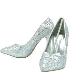 Shoes woman silver decolte' elegant silver tip heel ceremony