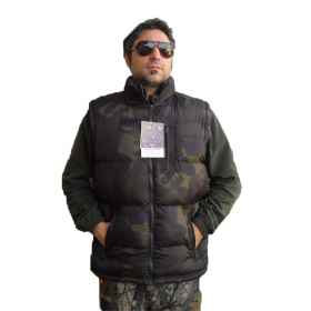 Sleeveless vest down jacket quilted padded hunting fishing zip pockets man fashion