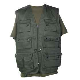 Multi-pocket vest safari hunting fishing man pockets green blue black camouflage