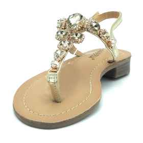 Sandals flip flops, style positano sea fashion jewel rhinestone stones women's elegant