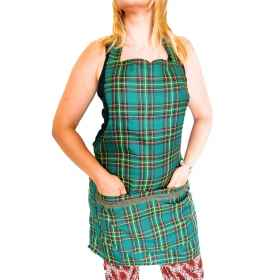 The apron bib and the scottish tartan kilt women's lace-up adjustable kitchen room