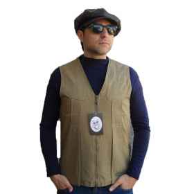 Sleeveless vest waistcoat zip hunting fishing pockets cotton green beige man