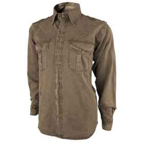 Shirt hunting green brown pure cotton stonewashed outdoor