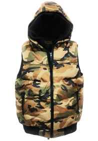 Sleeveless vest camouflage waterproof cap man quilted padded