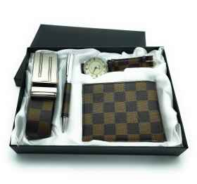 Gift box man watch, pen, wallet, and belt set degree