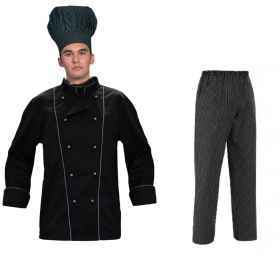 Full jacket cook black evening trousers and black pinstripe elegant