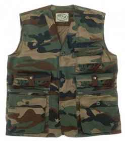 Vest, man's camouflage cartuccera outdoor hunting fishing sports cargo pockets zipper